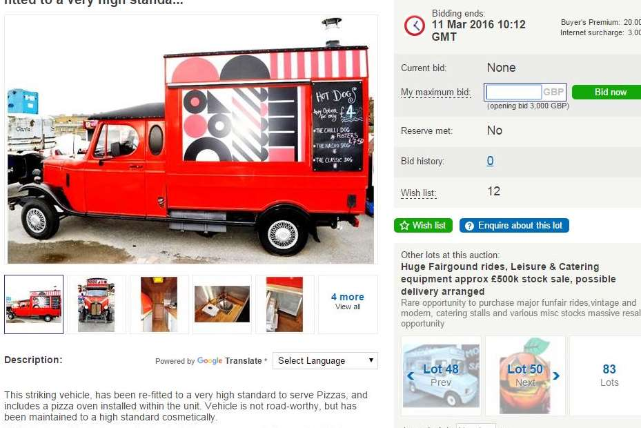 A static pizza van is also up for auction at £3000