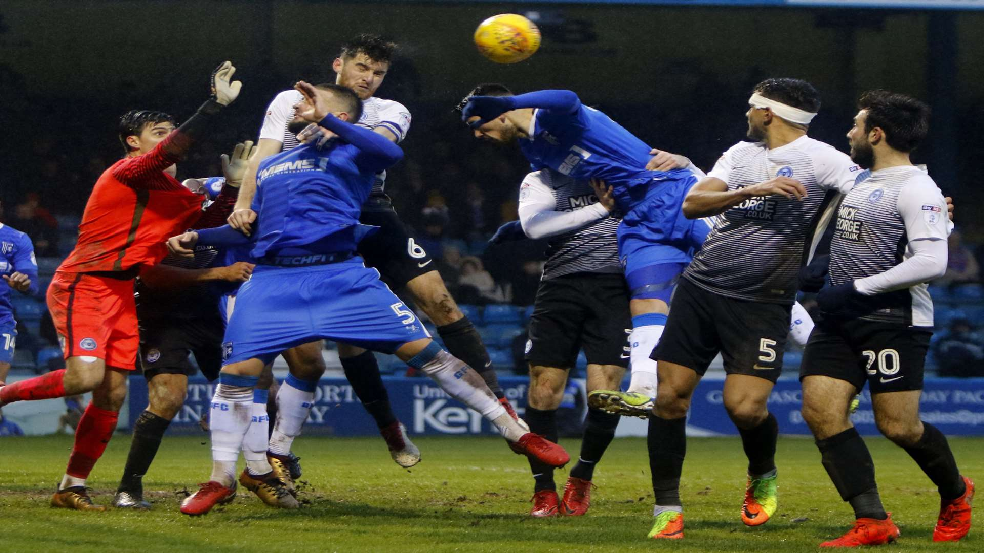 Gillingham pile on the pressure in the second half. Picture: Andy Jones