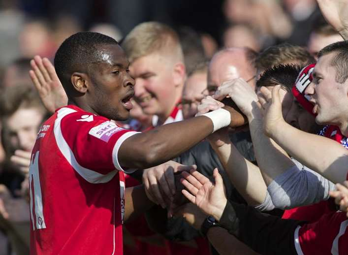Anthony Cook celebrates with the Fleet fans during his first spell at the club Picture: Andy Payton