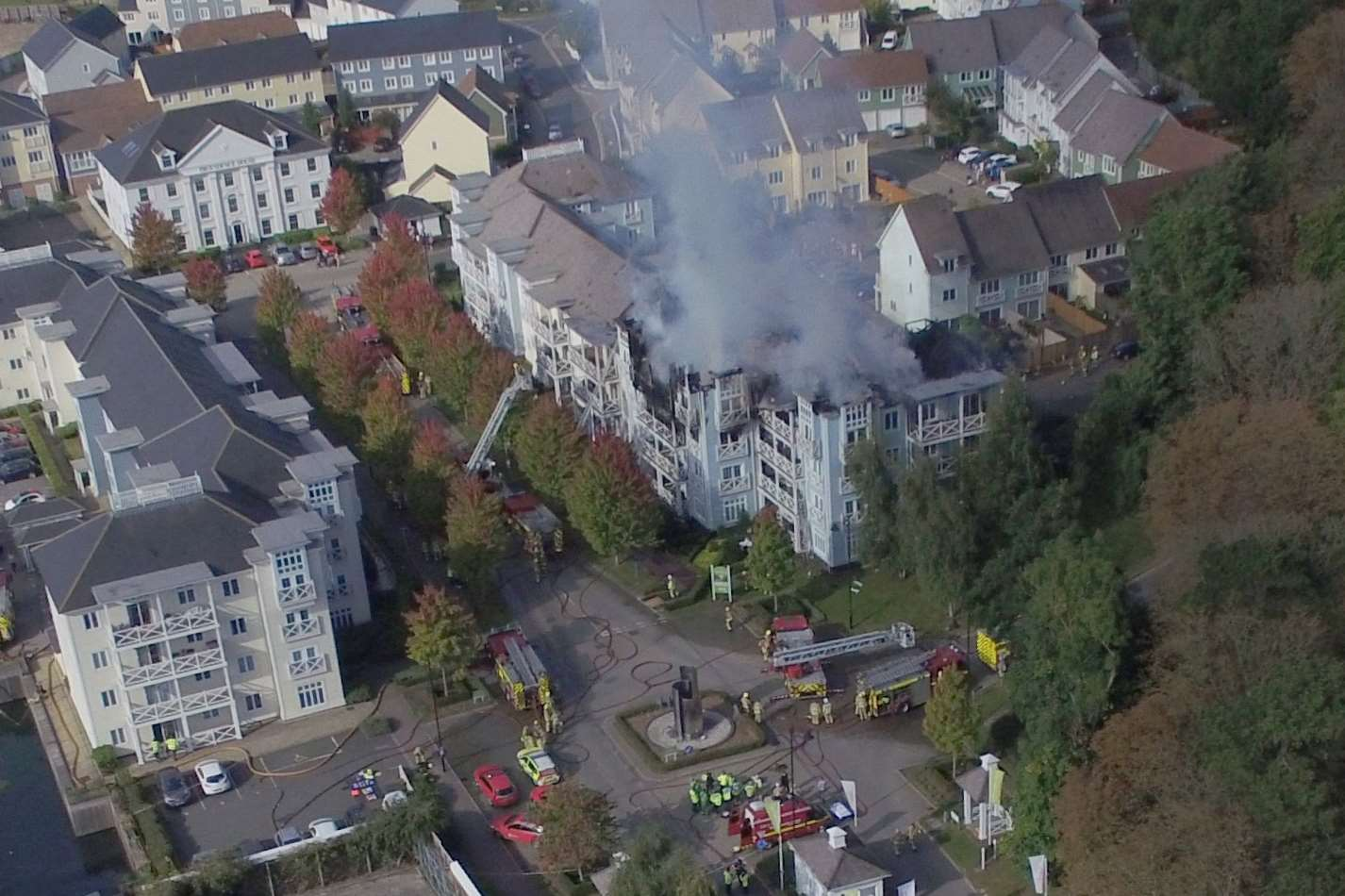 Aerial photo of the fire at Holborough Lakes. Picture courtesy of Mike Mahoney.