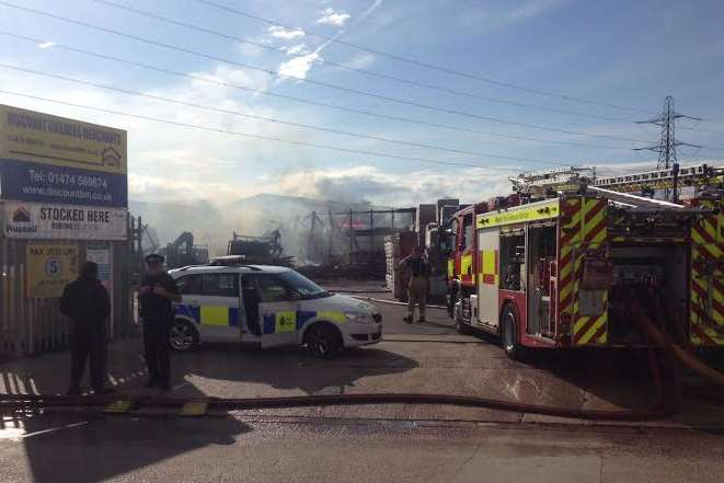 Fire crews outside Discount Builders Merchants in Northfleet. Picture: Thom Morris