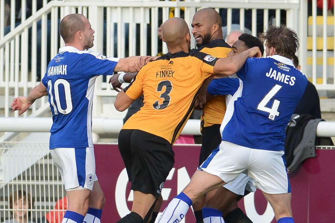 Things get feisty in the battle for three points Picture: Gary Browne