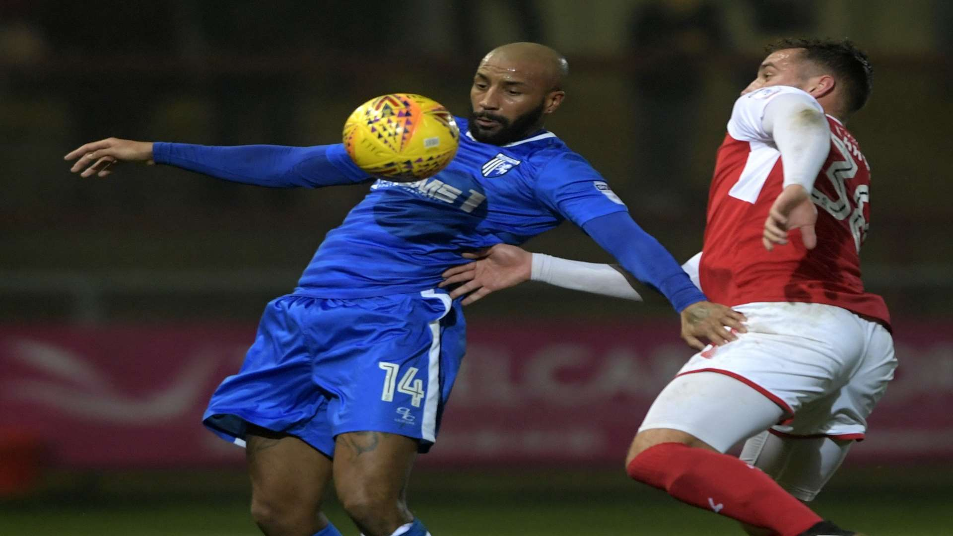 Josh Parker holds the ball up for Gillingham. Picture: Barry Goodwin