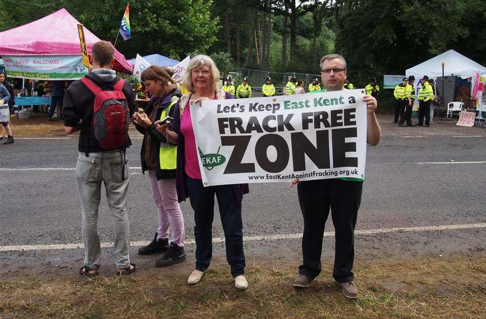 Deal With It's Rosemary Rechter and Stuart Cox protesting at Balcombe