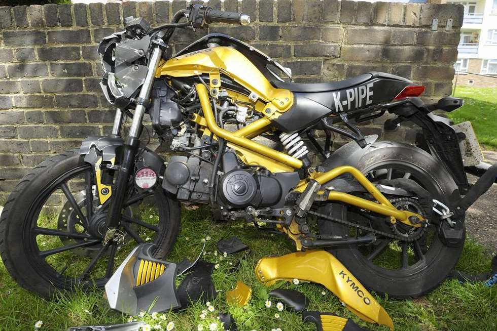 Ricky Knowles' badly-damaged motorbike