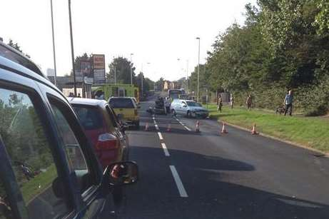The road was sectioned off after this crash in Margate. PIcture: Nigel Cruttenden