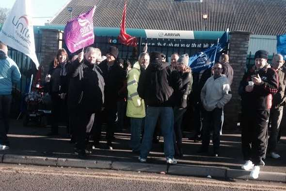 Drivers have walked out and are protesting in Gillingham