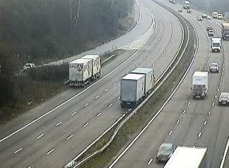 Part of the M20 is closed due to the accident. Credit: Kent Highways