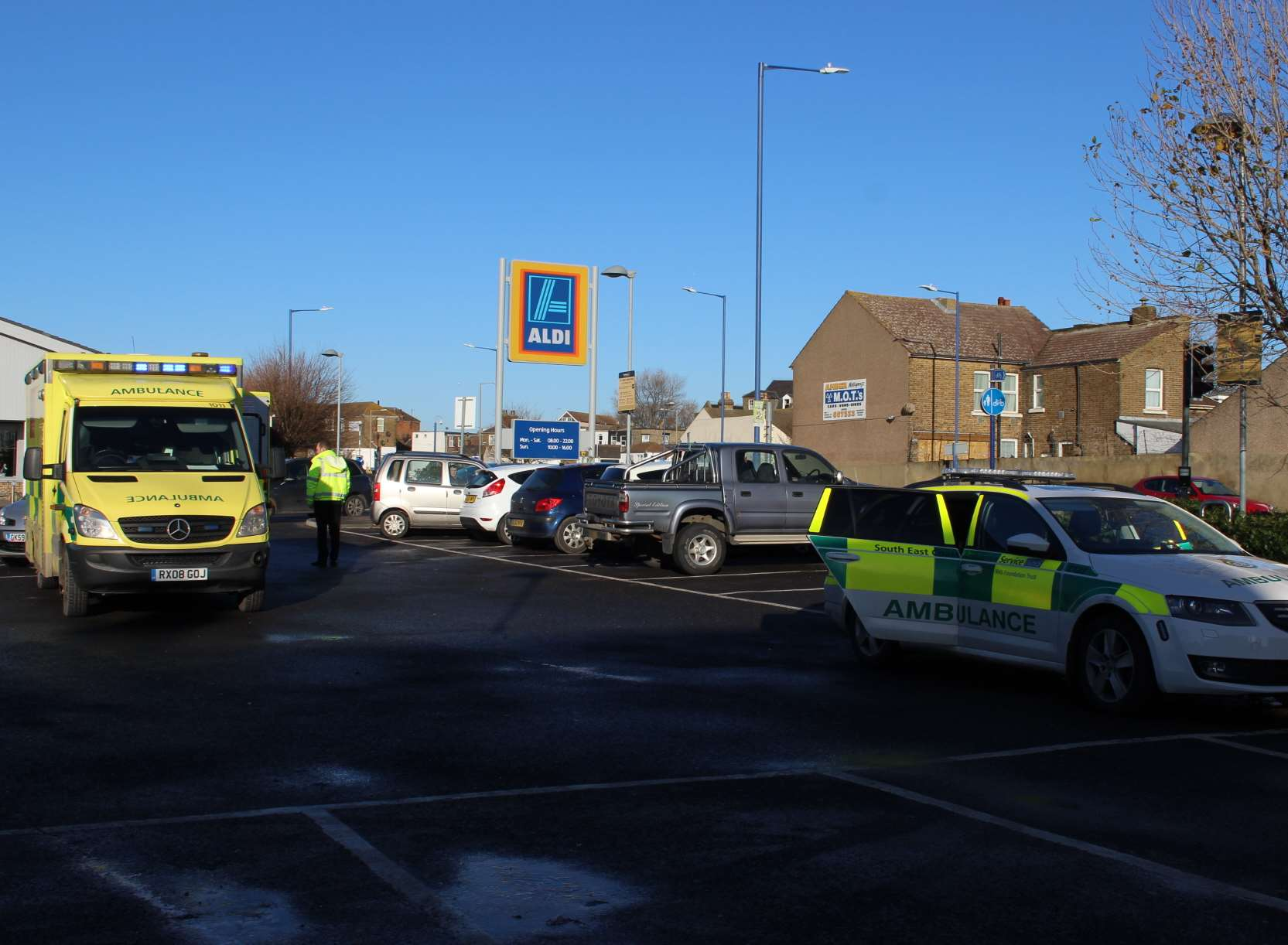 Ambulance in Aldi car park, Sheerness, today.