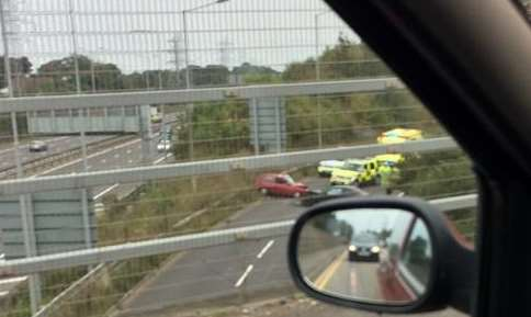 Two cars have collided on the slip road. Picture: @adam_jeal