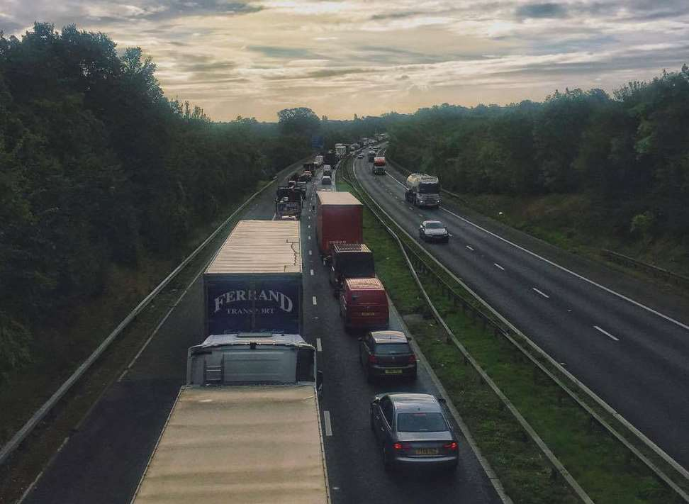 Traffic on the M2 at a standstill towards Faversham. Picture: Danny Lowman.