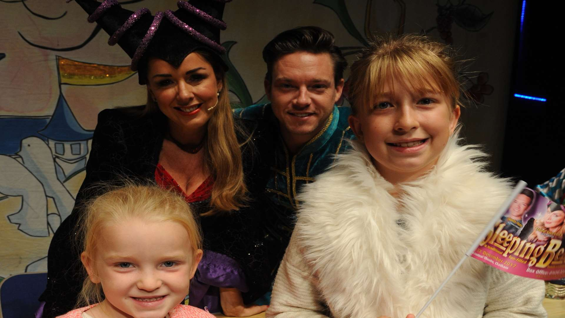 Claire Sweeney and Andy Moss meet Lily and Sophia Kirk at the launch of the Central Theatre's panto, Sleeping Beauty Picture: Steve Crispe