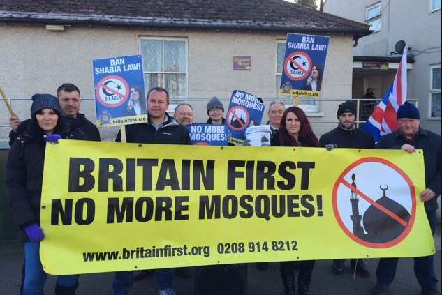 Members of far-right group Britain First protesting outside Maidstone's mosque