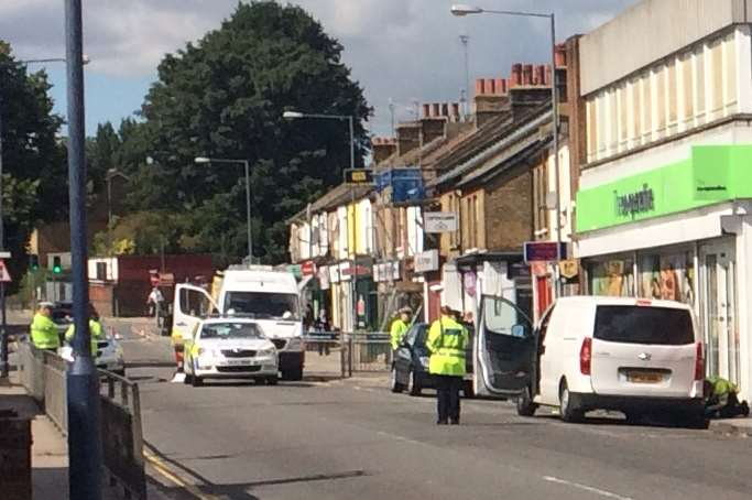 Emergency services at the scene of the crash in Northfleet
