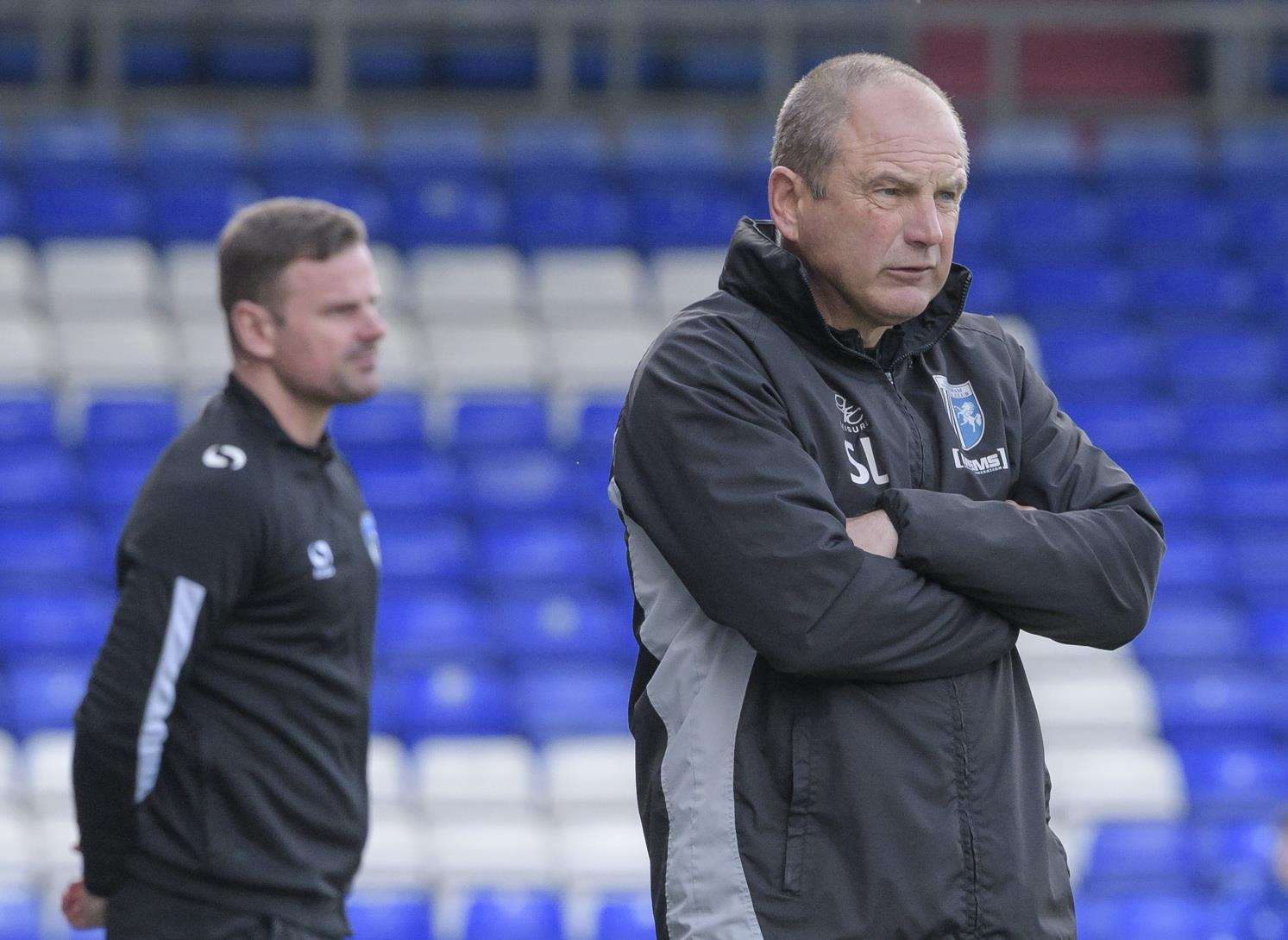 Gills boss Steve Lovell watches on against Oldham Picture: Andy Payton
