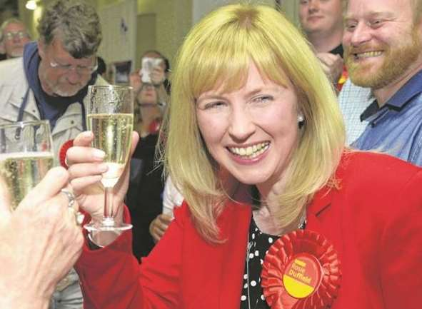 Rosie Duffield enjoys a glass of champagne after becoming Canterbury and Whitstable's first Labour MP