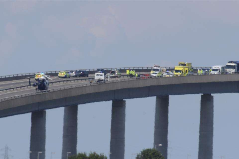 Emergency services deal with the aftermath of the serious crash at the Sheppey Crossing