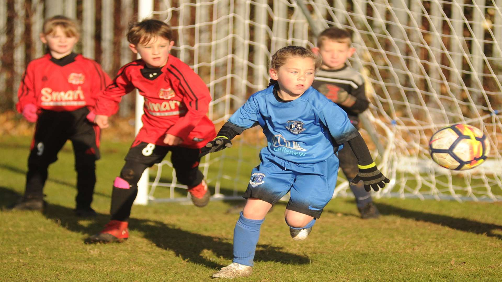 Woodcoombe Youth under-7s on the charge against Medway United East under-7s Picture: Steve Crispe