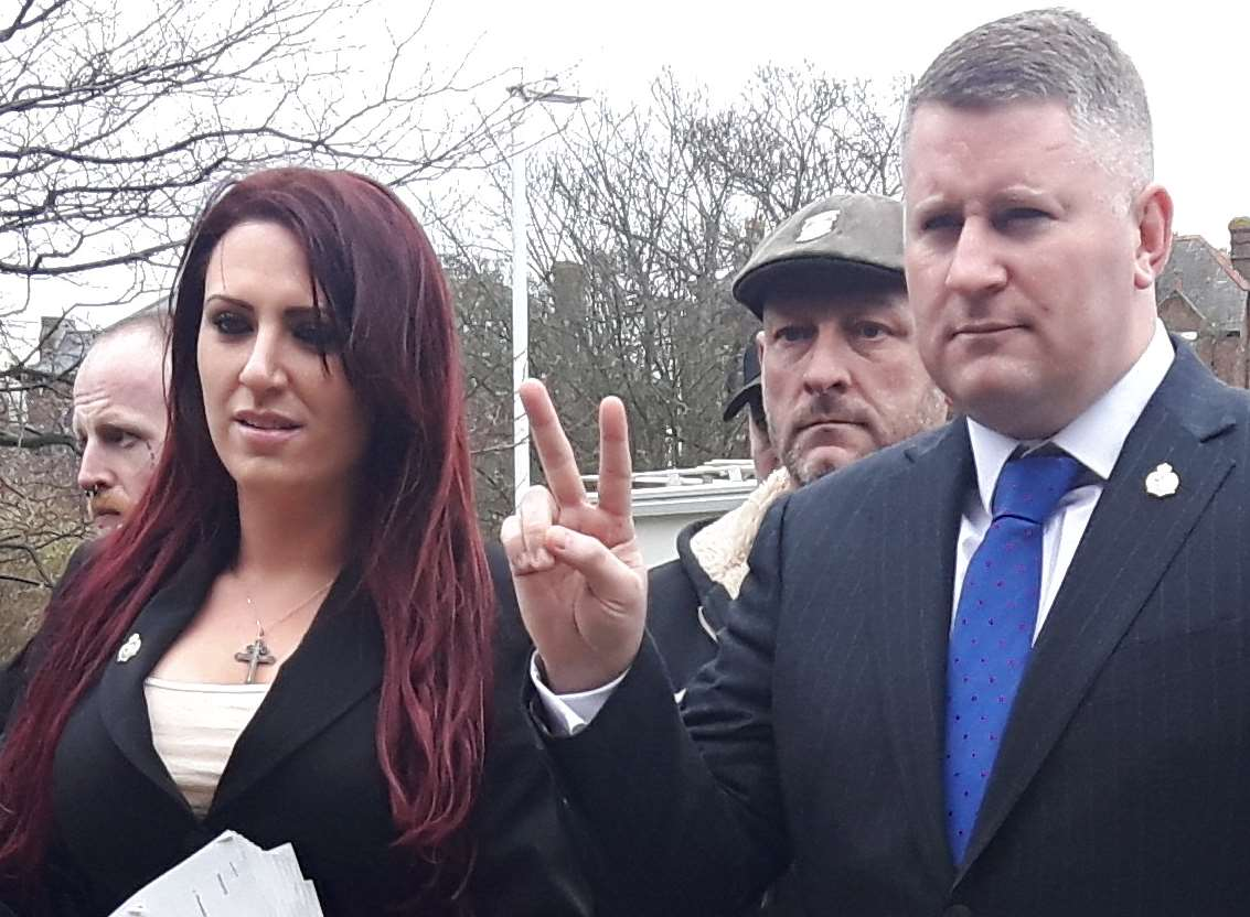 Paul Golding and Jayda Fransen outside court