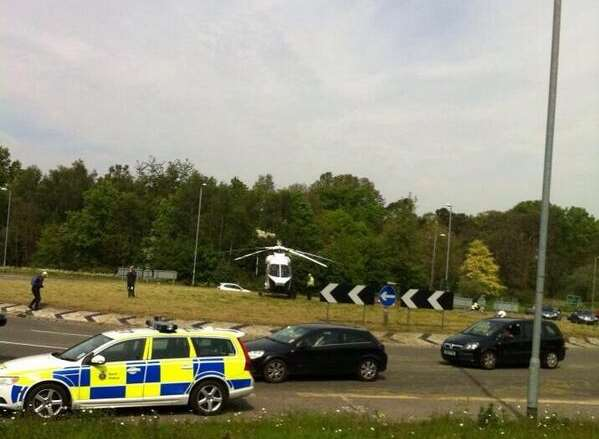 The air ambulance lands near the A21 at Tunbridge Wells today. Picture: Kent Police Roads