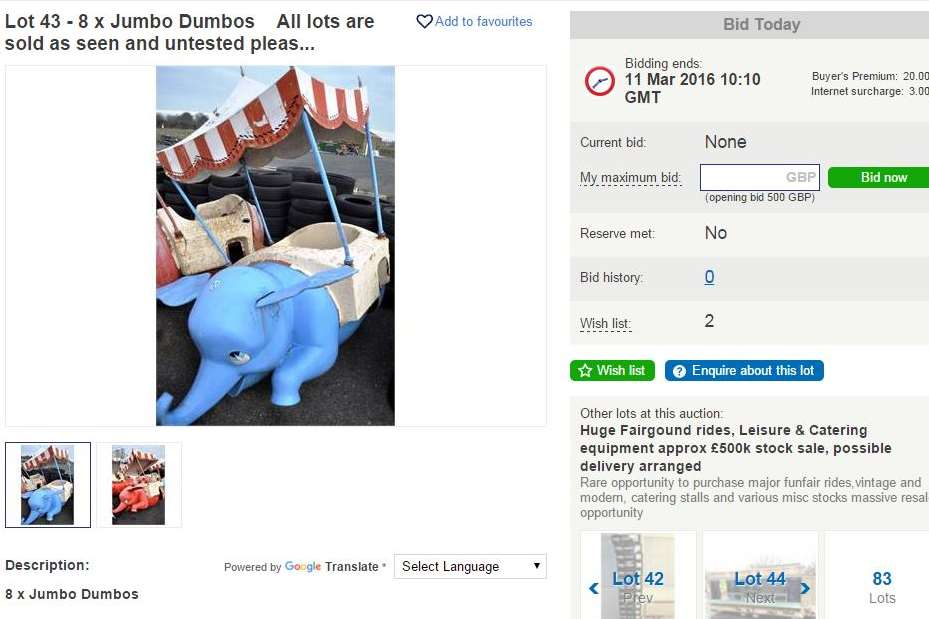 Disney fans can purchase eight jumbo Dumbo's starting at £500