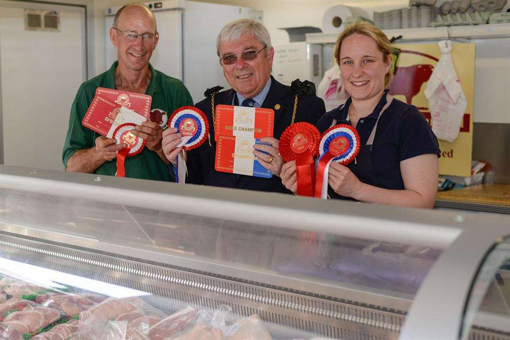 Roger Dunn from Goldstone Butchers, Sandwich Mayor, Cllr Paul Graeme and Alice Dunn.