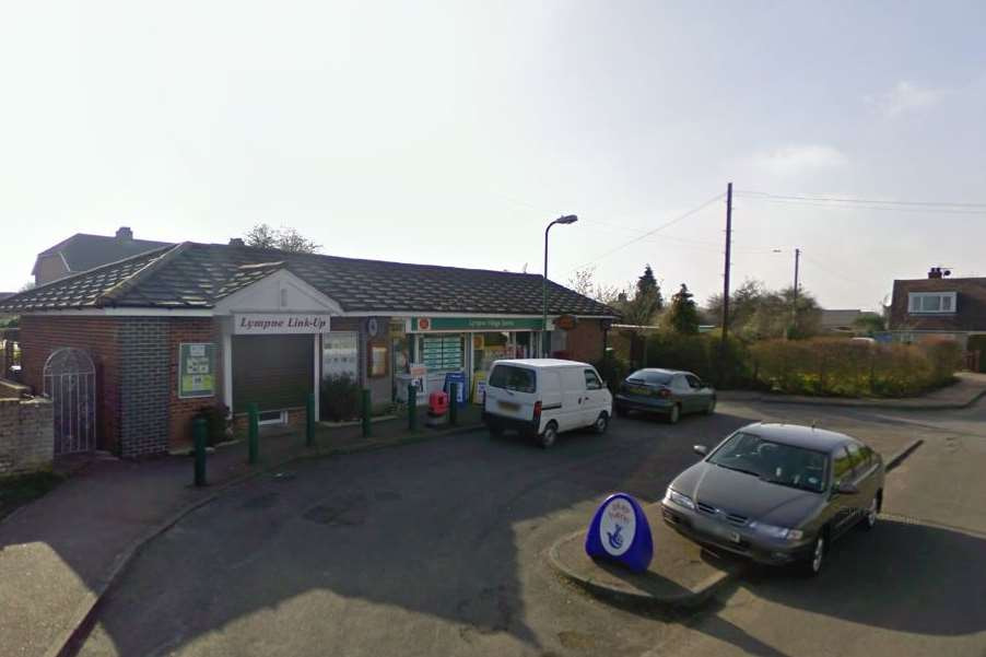 The incident happened outside Lympne village stores. Picture: Google