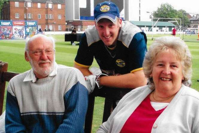 James Tredwell with his parents at Lord's