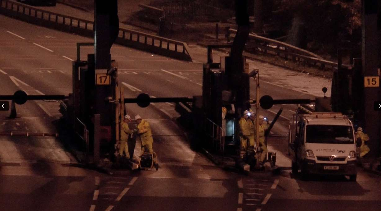 Work started to remove the toll booths last night