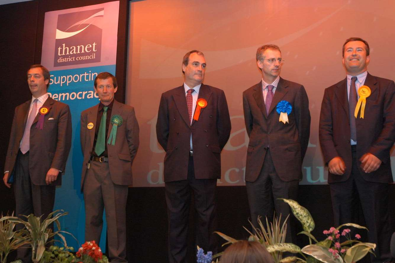 Nigel Farage (UKIP), Howard Green (Green Party), Stephen Ladyman (Labour), Mark MacGregor (Conservative) and Guy Voizey (Liberal Democrat) at the 2005 count