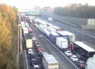 Delays building up near the QEII bridge after the crash. Picture: Highways England