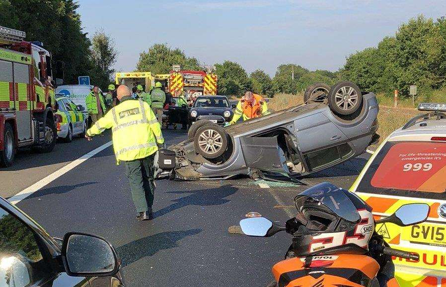 The overturned car on the M2. Picture: Laszlo Csoke