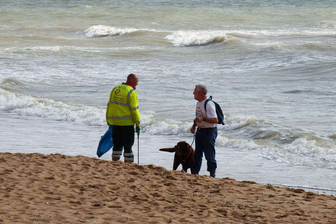 Litter-pickers on one of Thanet's beaches. Picture: Mike Pett