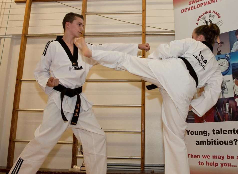 Katie Foreman and Will Tumber give a taekwondo demonstration