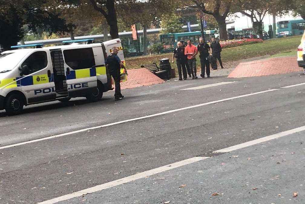The man was arrested near the bus station, picture Jessika Hope.