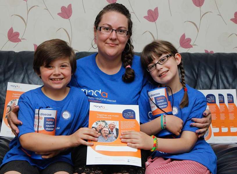 Wyatt, six, with mum Stacey Spokes, who is organising a fun day for the Motor Neurone Disease Association, with sister Brooke, nine