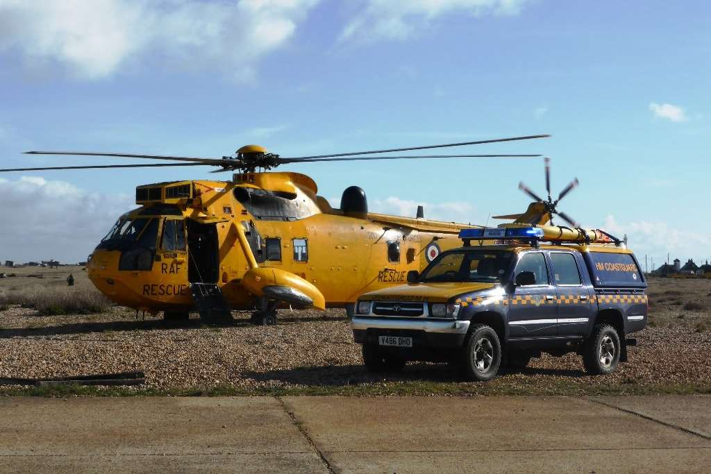 Coastguard and RAF rescue helicopter at Dungeness after the couple were brought to shore. Picture: HM Coastguard