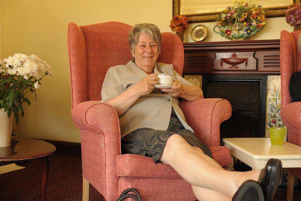Now 'retired', Cllr Gent enjoys a cup of tea