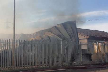 Smoke from the badly-damaged building in Botany Road, Northfleet. Picture: Thom Morris