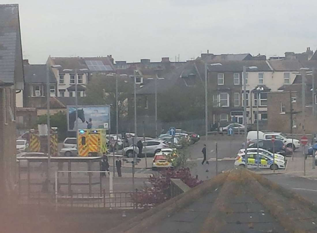 Ambulances and police cars are at the scene. Picture: Roy Foord