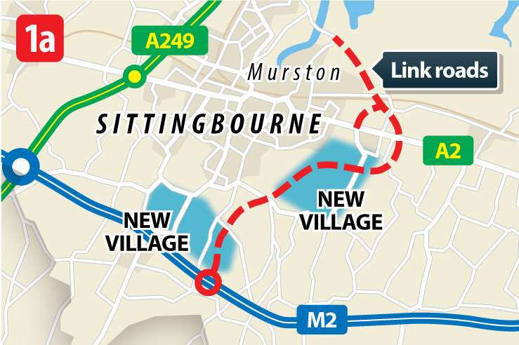 The first scenario would see two new villages, each with around 5,000 homes, to the south and south east of Sittingbourne