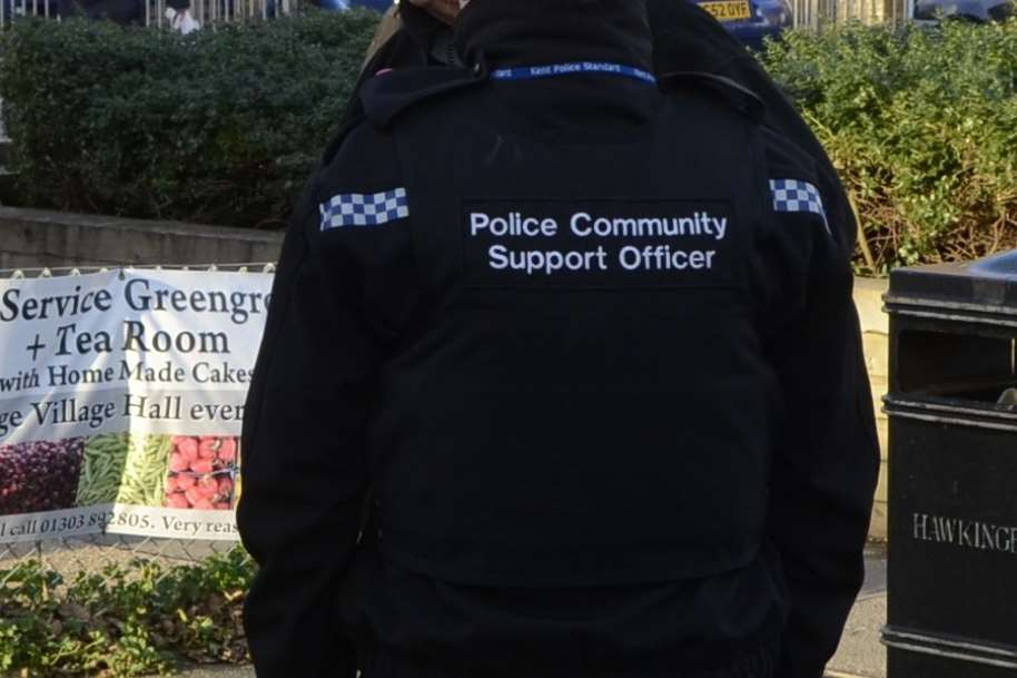 A PCSO on patrol. Stock image