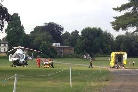 The injured man is taken to an air ambulance after being stabbed. Picture: @Accio_Swift13