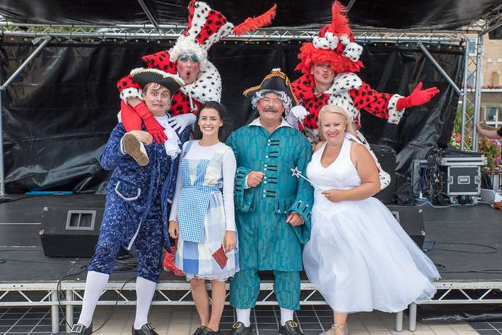 The cast of this Christmas's panto at Leas Cliff Hall, Folkestone