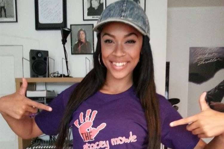 X Factor finalist Tamera Foster with her Stacey Mowle T-shirt