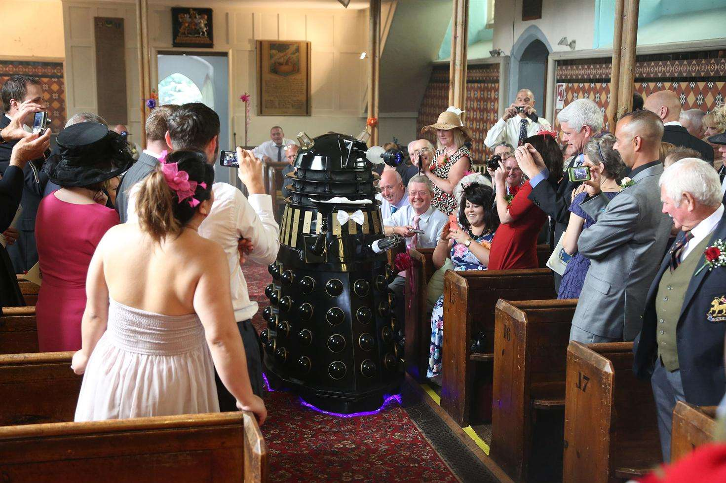 A surprise guests at the wedding was Skaro's most feared inhabitant, the deadly Daleks. Picture: Roger Vaughan.