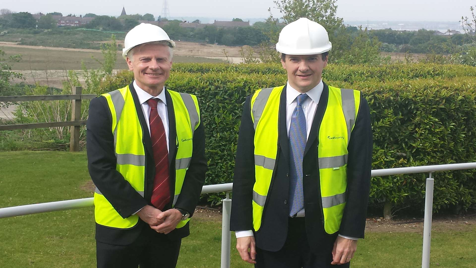 Chancellor George Osborne at the Ebbsfleet Valley with Commercial Secretary to the Treasury Lord Deighton