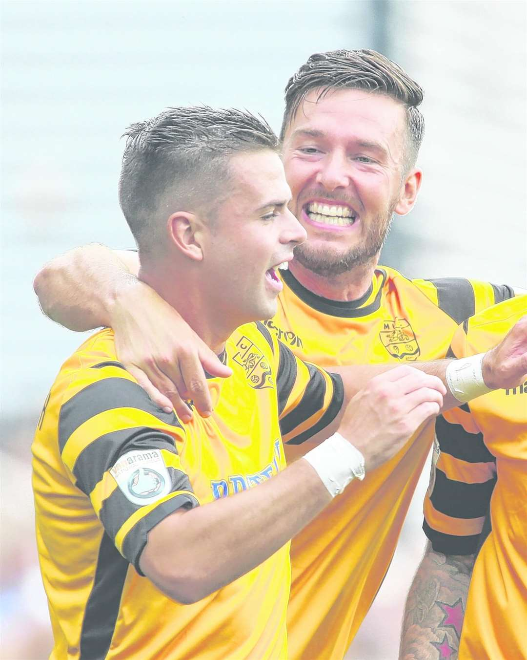 Ben Greenhalgh is congratulated by Jamie Coyle after scoring for Maidstone Picture: Andy Jones