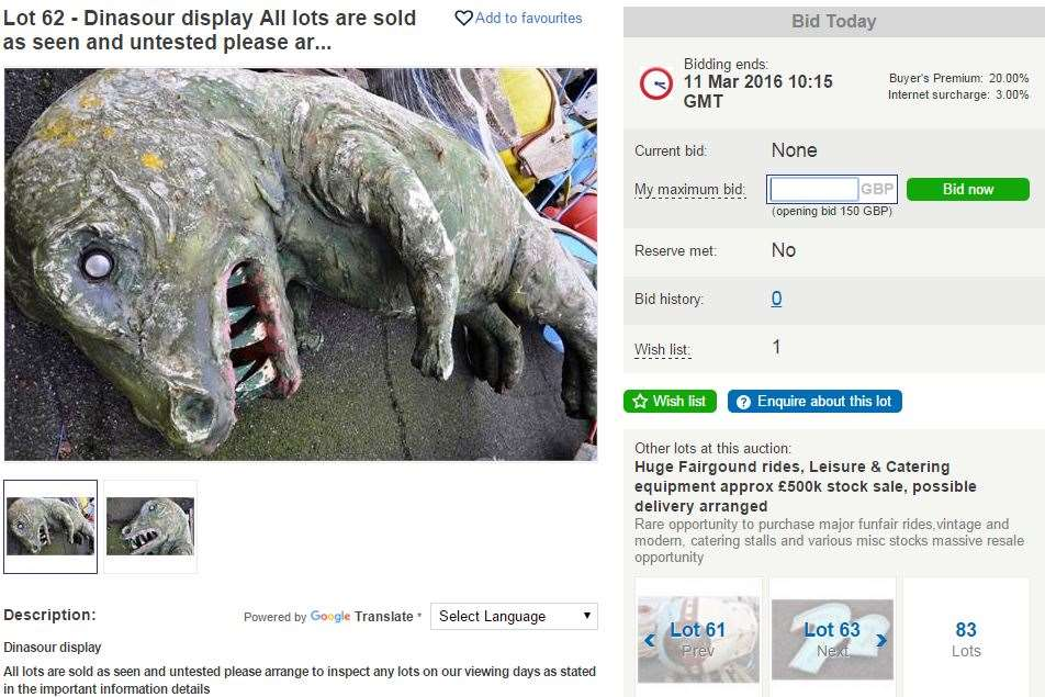 A dinosaur display is also available starting at £150