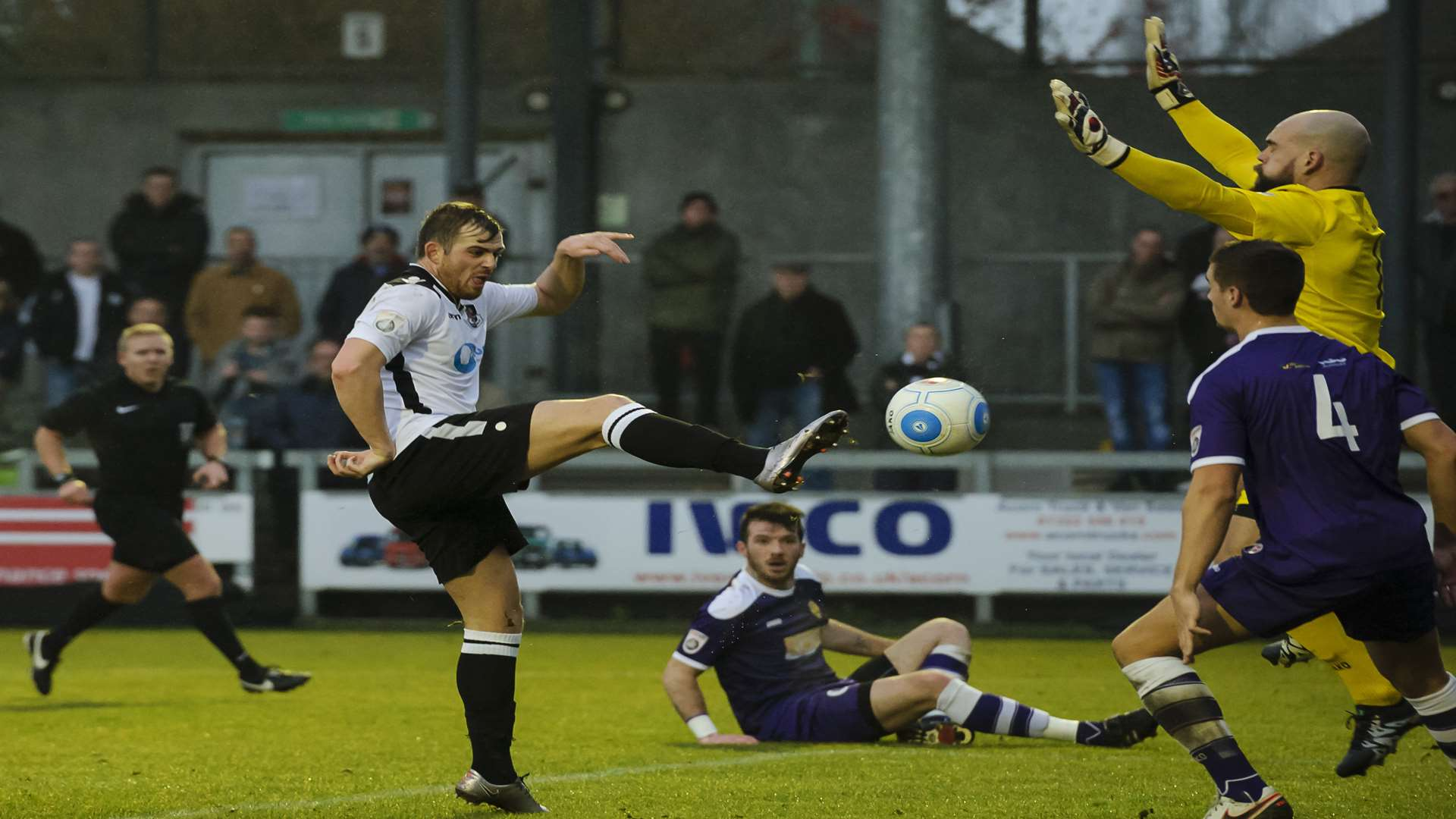 Tom Murphy scores on his home debut for Dartford. Picture: Andy Payton